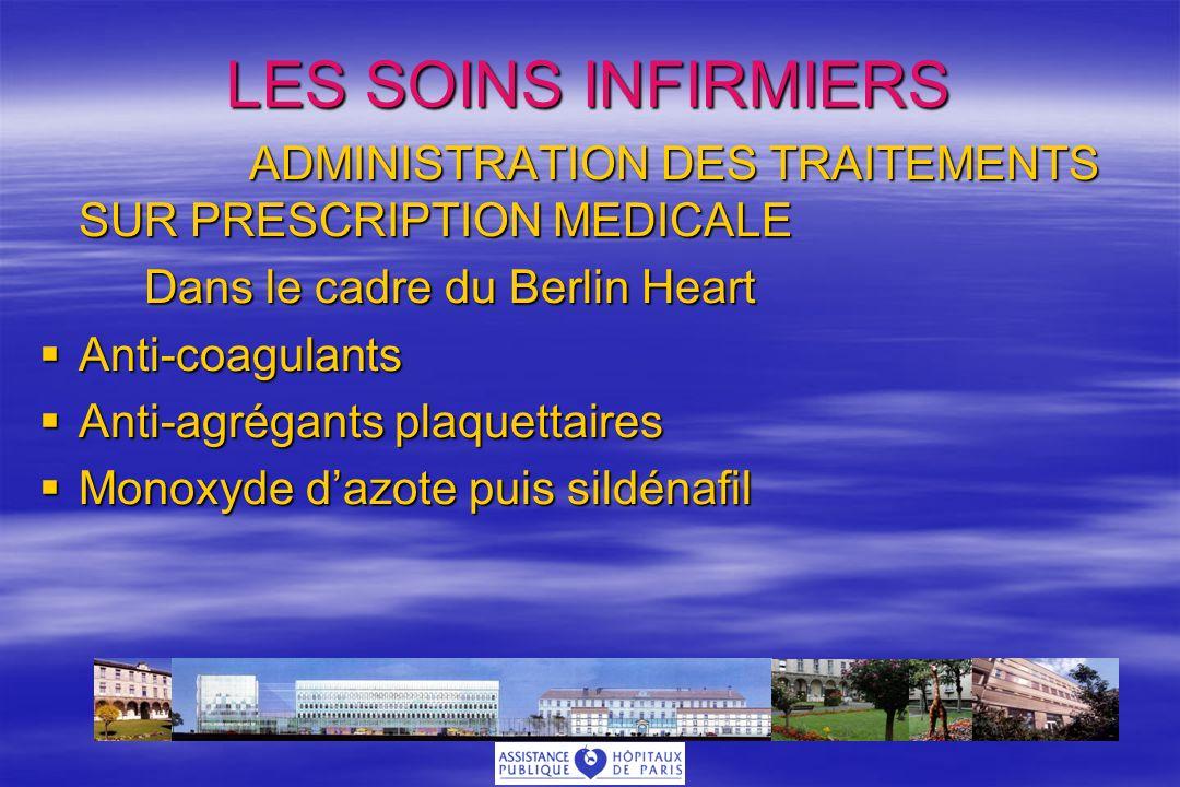 LES SOINS INFIRMIERS ADMINISTRATION DES TRAITEMENTS SUR PRESCRIPTION MEDICALE Dans le cadre du Berlin Heart Anti-coagulants Anti-coagulants Anti-agrégants plaquettaires Anti-agrégants plaquettaires Monoxyde dazote puis sildénafil Monoxyde dazote puis sildénafil