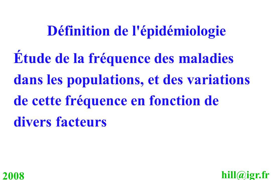 hill@igr.fr 2008 Définition de l'épidémiologie Étude de la fréquence des maladies dans les populations, et des variations de cette fréquence en foncti
