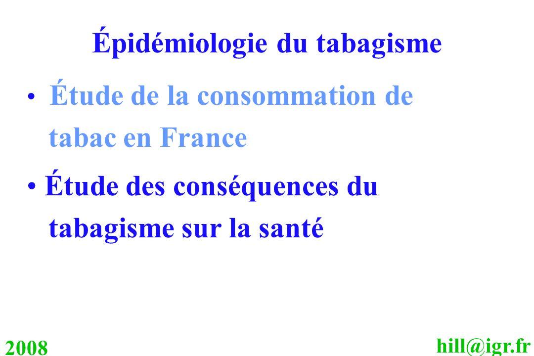 hill@igr.fr 2008 Épidémiologie du tabagisme Étude de la consommation de tabac en France Étude des conséquences du tabagisme sur la santé