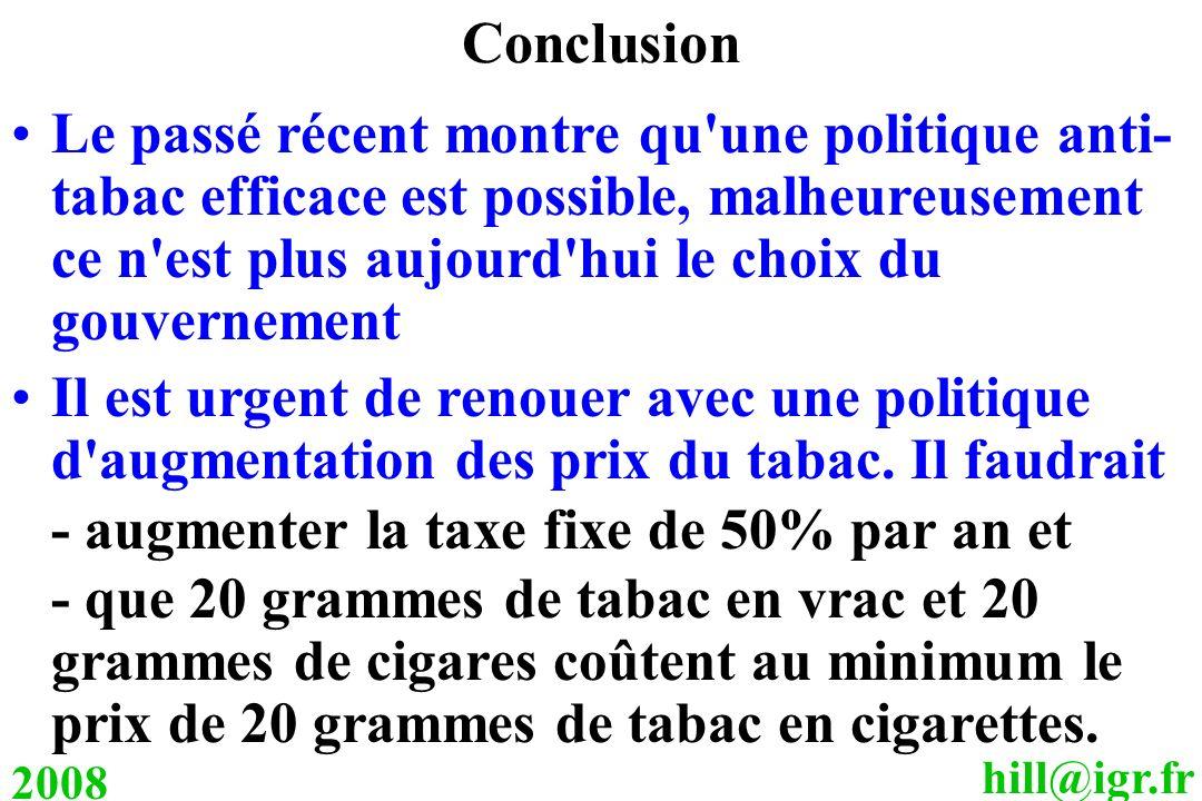 hill@igr.fr 2008 Conclusion Le passé récent montre qu'une politique anti- tabac efficace est possible, malheureusement ce n'est plus aujourd'hui le ch