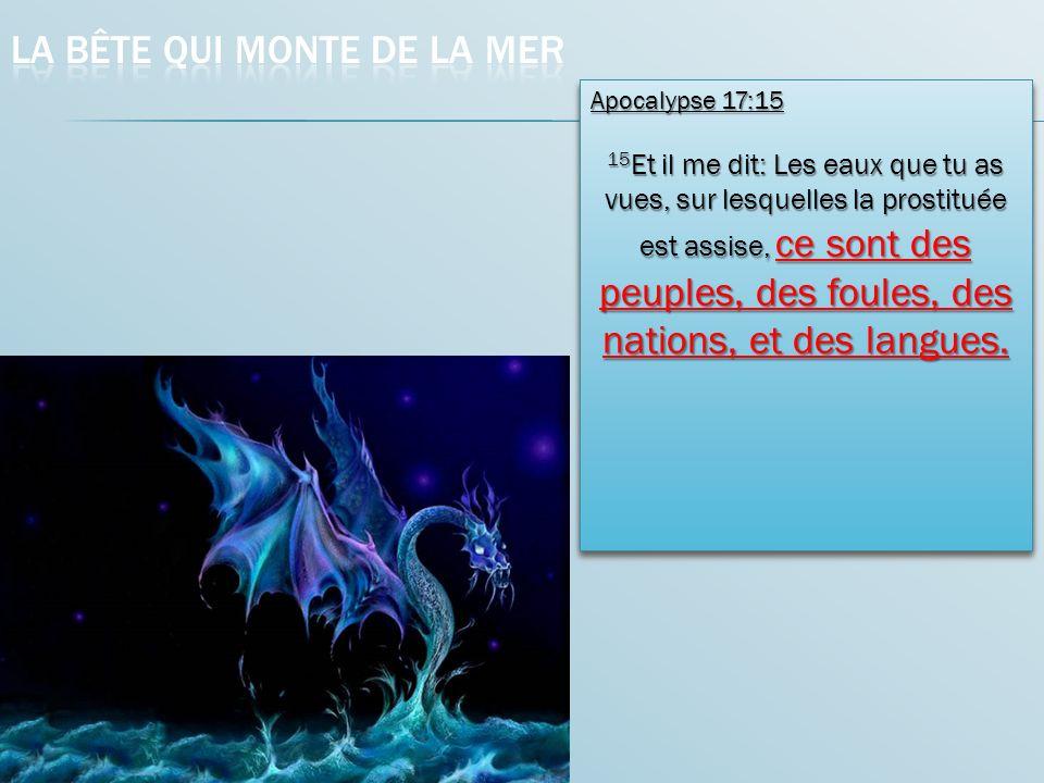 Apocalypse 17:15 Apocalypse 17:15 15 Et il me dit: Les eaux que tu as vues, sur lesquelles la prostituée est assise, ce sont des peuples, des foules, des nations, et des langues.