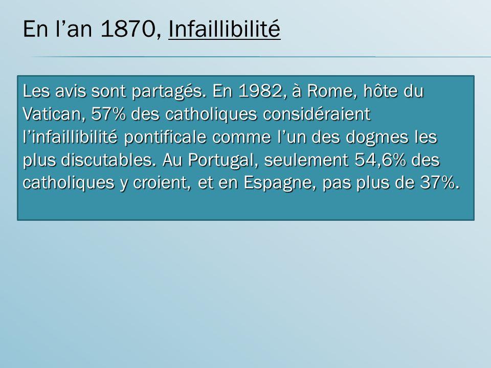 En lan 1870, Infaillibilité introduction de linfaillibilité De lévêque de Rome Les avis sont partagés.