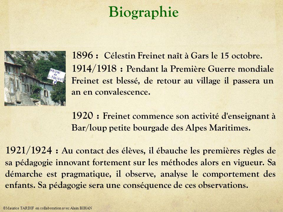 Biographie 1896 : Célestin Freinet naît à Gars le 15 octobre. 1914/1918 : Pendant la Première Guerre mondiale Freinet est blessé, de retour au village