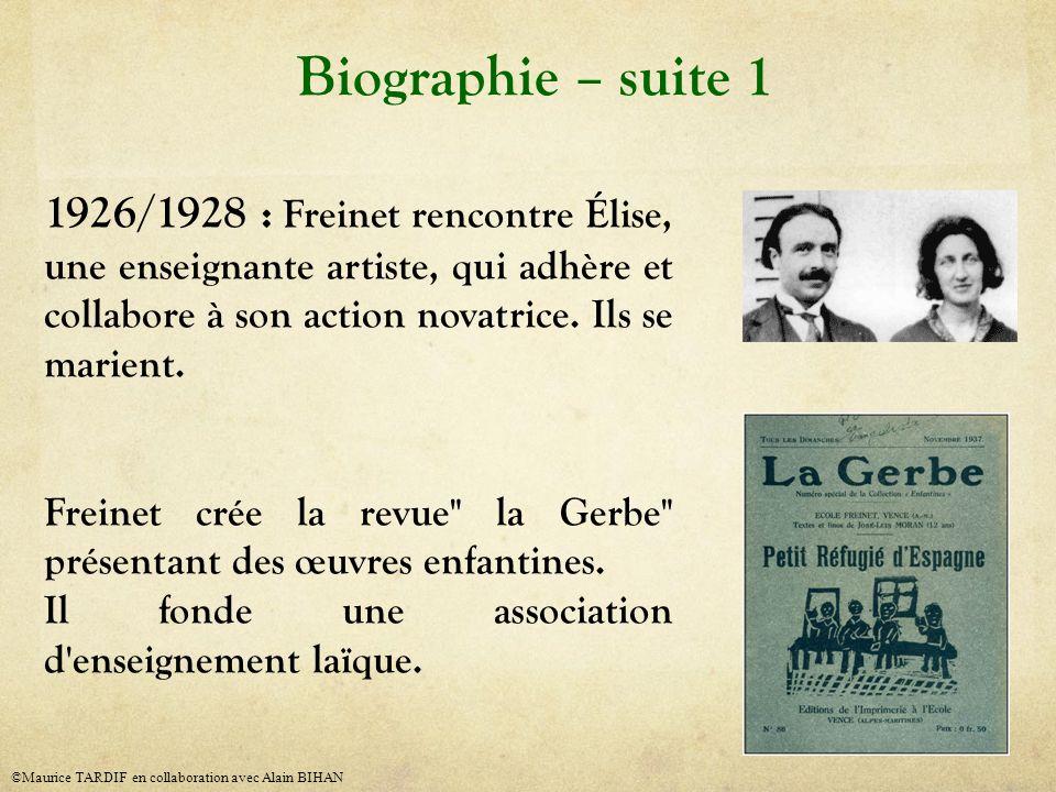 1926/1928 : Freinet rencontre Élise, une enseignante artiste, qui adhère et collabore à son action novatrice. Ils se marient. Freinet crée la revue
