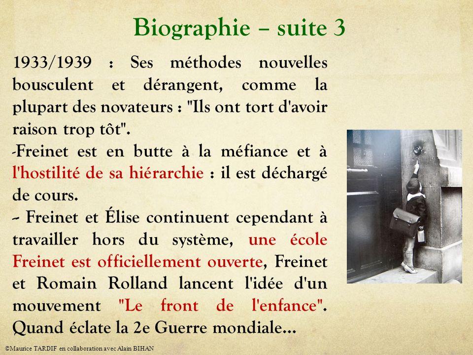 1933/1939 : Ses méthodes nouvelles bousculent et dérangent, comme la plupart des novateurs :