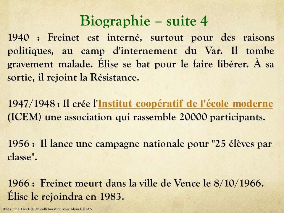 1940 : Freinet est interné, surtout pour des raisons politiques, au camp d'internement du Var. Il tombe gravement malade. Élise se bat pour le faire l