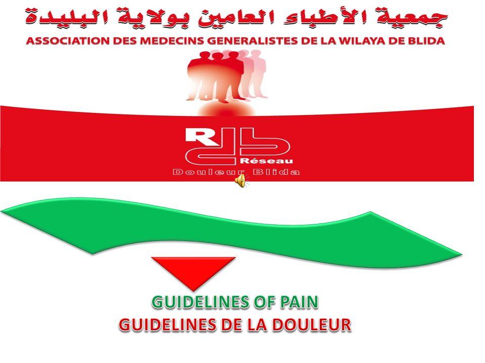 Lassociation des Médecins Généralistes de la Wilaya de Blida a mis sur pieds un réseau douleur Blida vue quil nexiste aucune structure de prise en charge de la douleur dans la région de Blida.