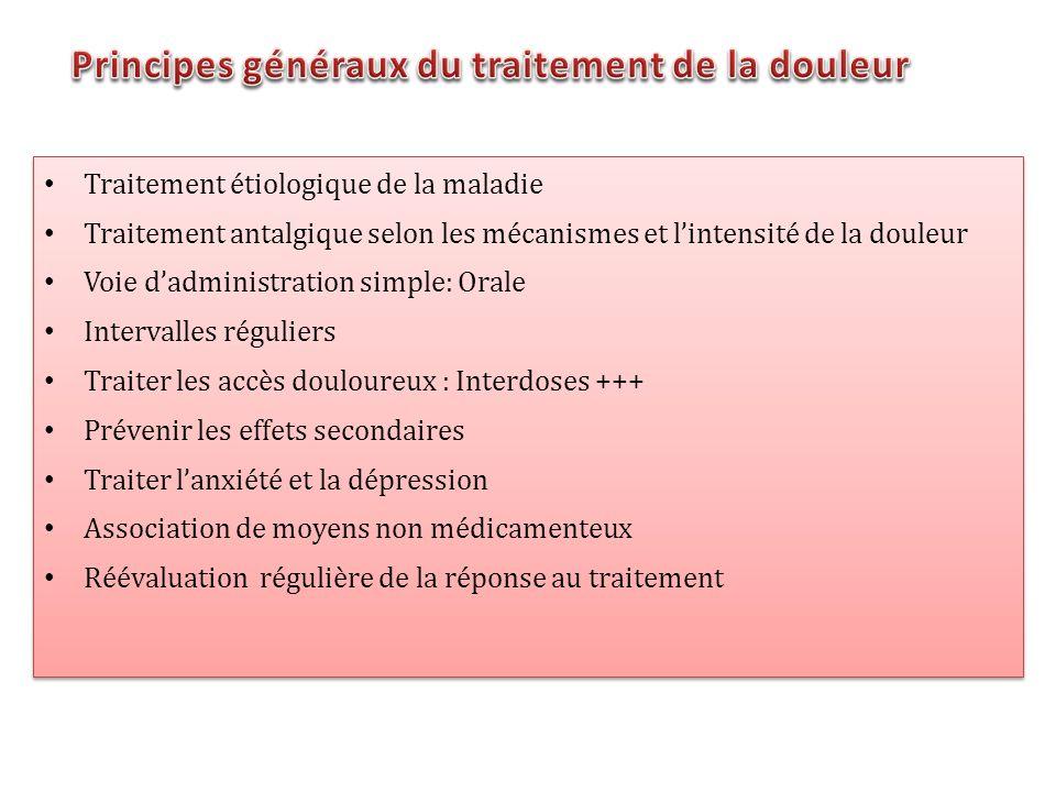 Traitement étiologique de la maladie Traitement antalgique selon les mécanismes et lintensité de la douleur Voie dadministration simple: Orale Interva