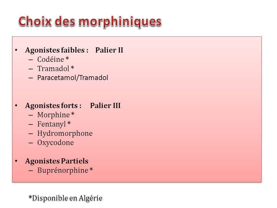 Agonistes faibles : Palier II – Codéine * – Tramadol * – Paracetamol/Tramadol Agonistes forts : Palier III – Morphine * – Fentanyl * – Hydromorphone –