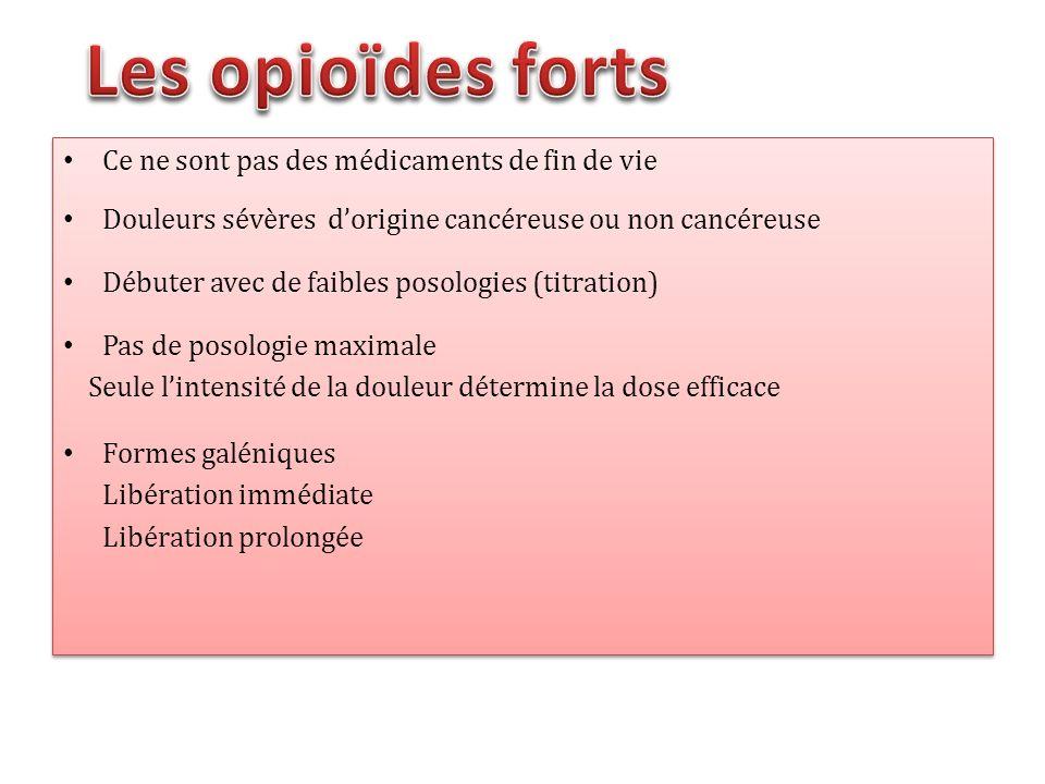 Ce ne sont pas des médicaments de fin de vie Douleurs sévères dorigine cancéreuse ou non cancéreuse Débuter avec de faibles posologies (titration) Pas