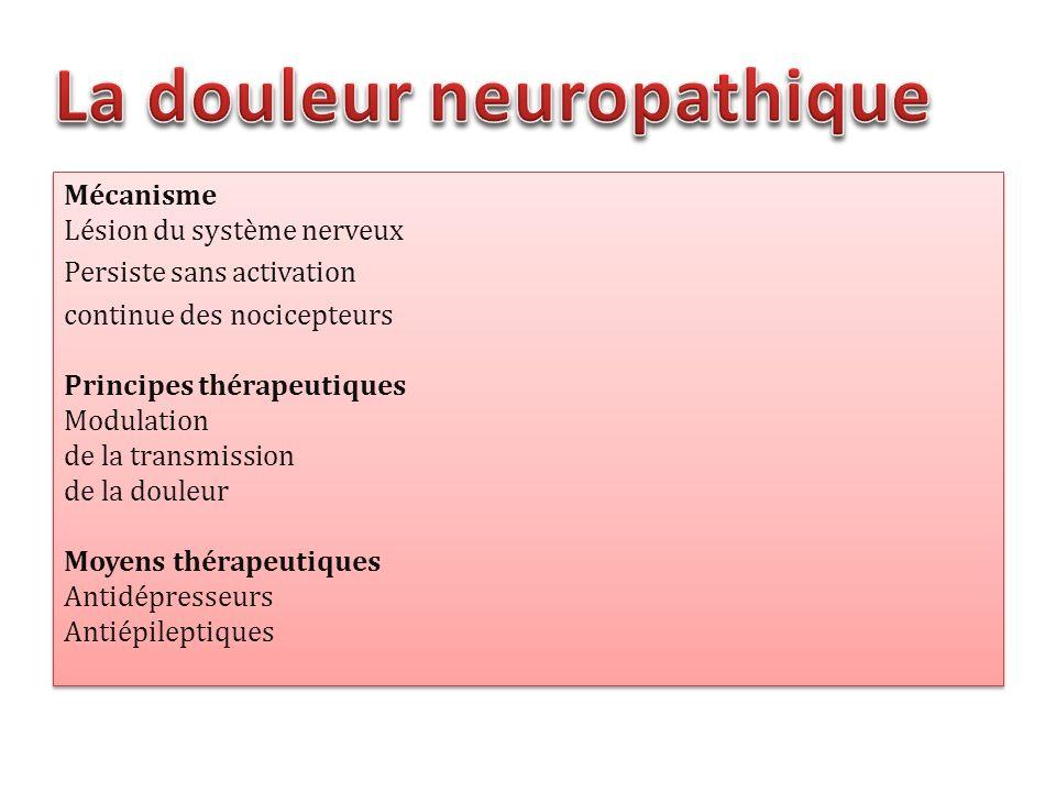Mécanisme Lésion du système nerveux Persiste sans activation continue des nocicepteurs Principes thérapeutiques Modulation de la transmission de la do
