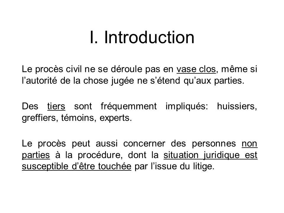 I. Introduction Le procès civil ne se déroule pas en vase clos, même si lautorité de la chose jugée ne sétend quaux parties. Des tiers sont fréquemmen