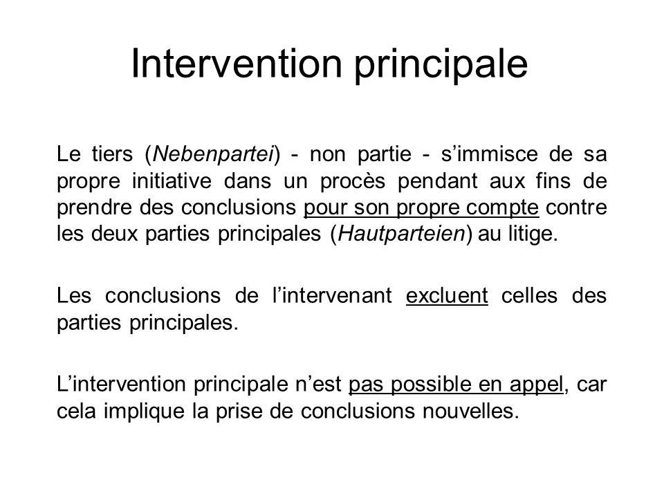 Intervention principale Le tiers (Nebenpartei) - non partie - simmisce de sa propre initiative dans un procès pendant aux fins de prendre des conclusi