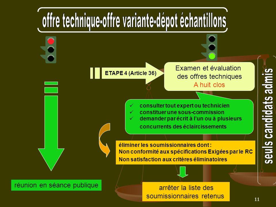 11 Examen et évaluation des offres techniques A huit clos ETAPE 4 (Article 36) réunion en séance publique éliminer les soumissionnaires dont : Non con
