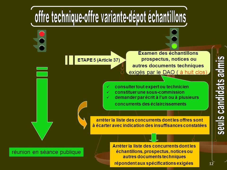 12 Examen des échantillons prospectus, notices ou autres documents techniques exigés par le DAO ( à huit clos) ETAPE 5 (Article 37) réunion en séance