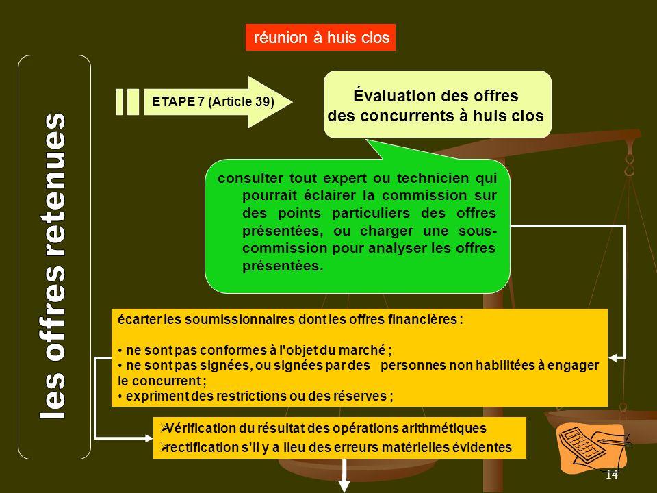 14 réunion à huis clos Évaluation des offres des concurrents à huis clos ETAPE 7 (Article 39) consulter tout expert ou technicien qui pourrait éclaire