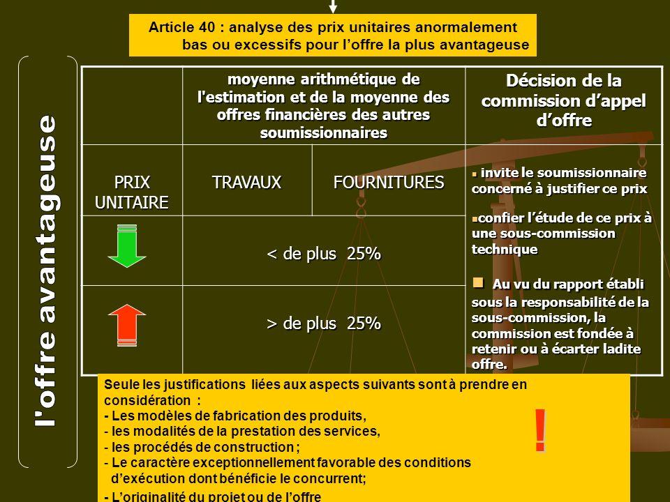 16 Article 40 : analyse des prix unitaires anormalement bas ou excessifs pour loffre la plus avantageuse moyenne arithmétique de l'estimation et de la