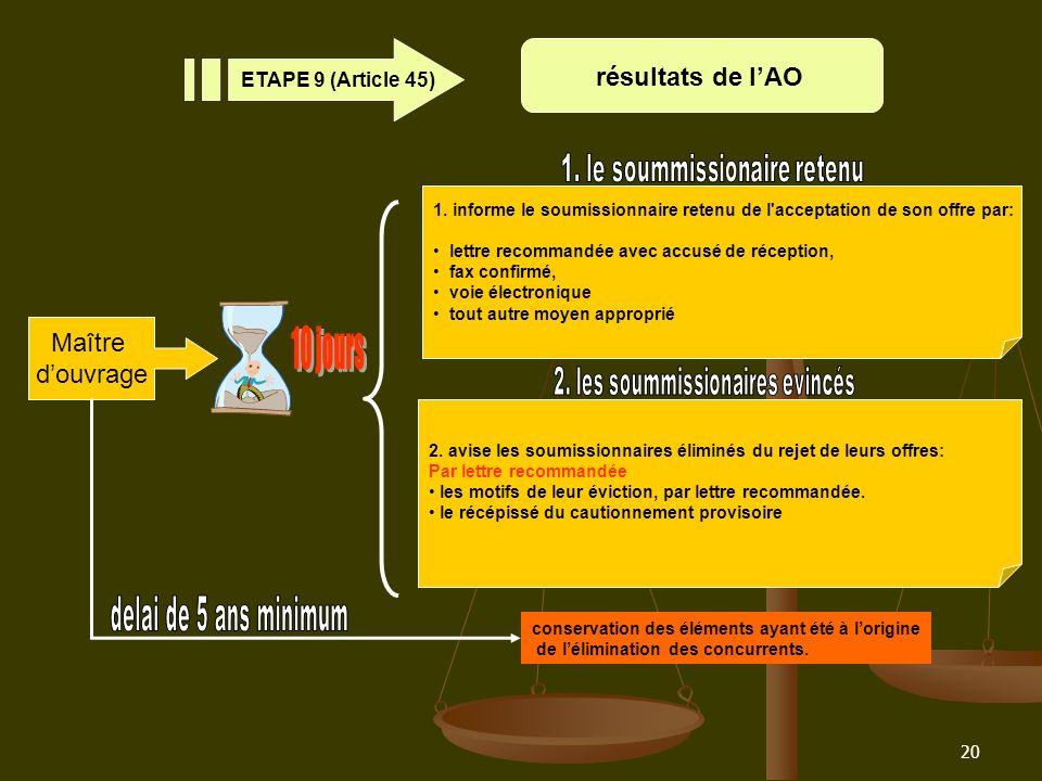 20 résultats de lAO ETAPE 9 (Article 45) conservation des éléments ayant été à lorigine de lélimination des concurrents. Maître douvrage 1. informe le