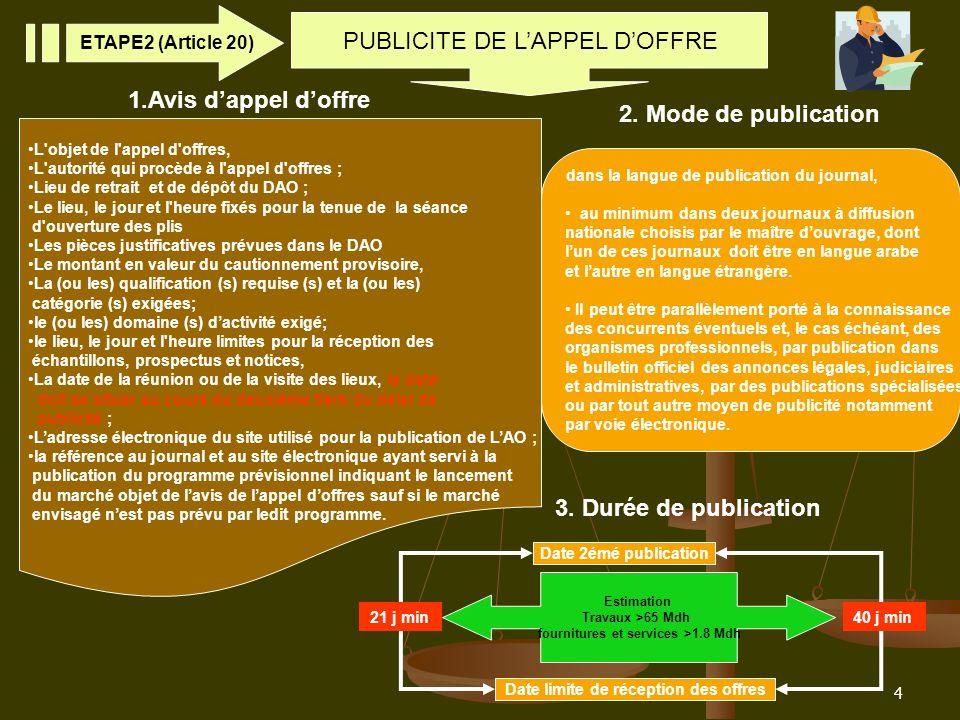 4 PUBLICITE DE LAPPEL DOFFRE ETAPE2 (Article 20) L'objet de l'appel d'offres, L'autorité qui procède à l'appel d'offres ; Lieu de retrait et de dépôt