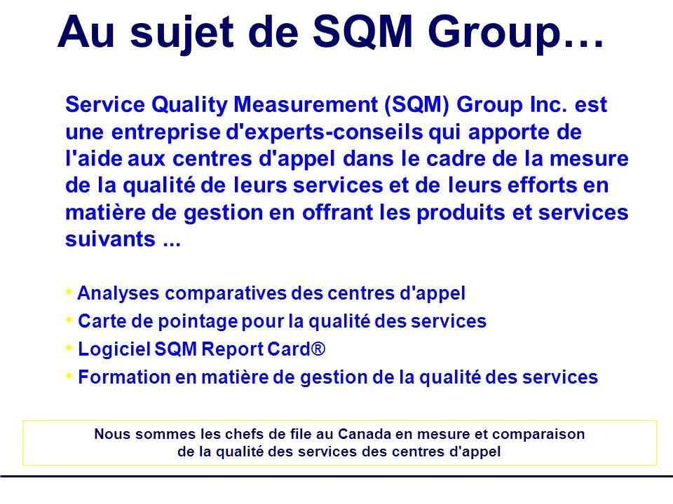 SQM Group Tous droits réservés - pas de reproduction 2 Au sujet de SQM Group… Service Quality Measurement (SQM) Group Inc. est une entreprise d'expert