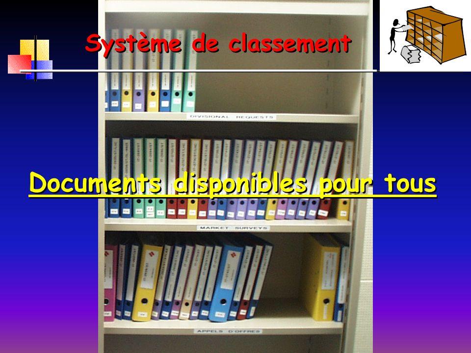 Système de classement Documents disponibles pour tous