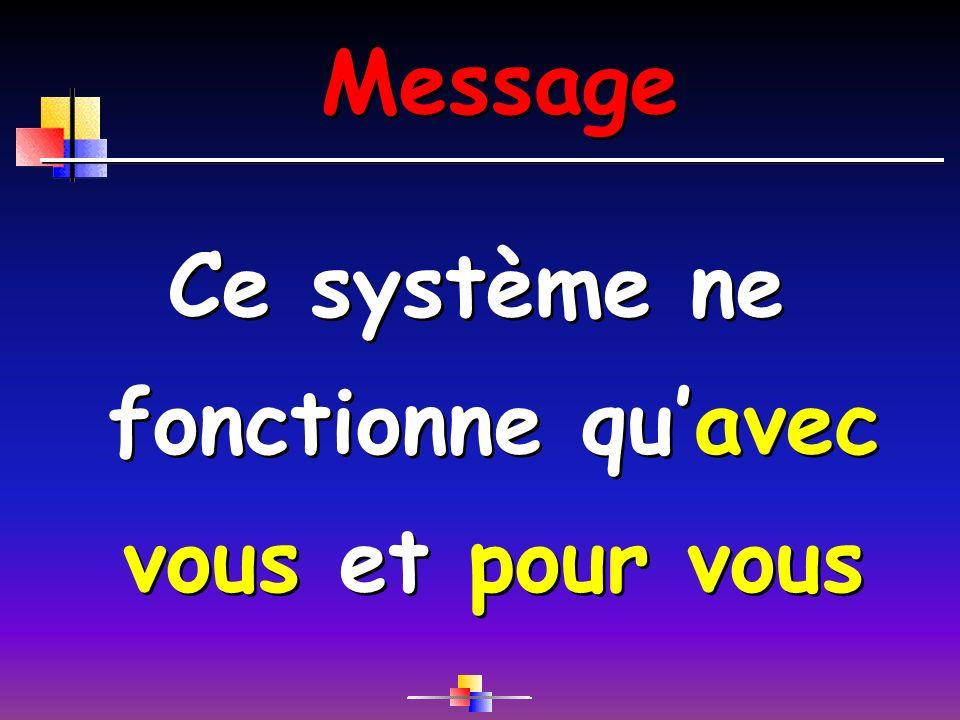 Message Ce système ne fonctionne quavec vous et pour vous