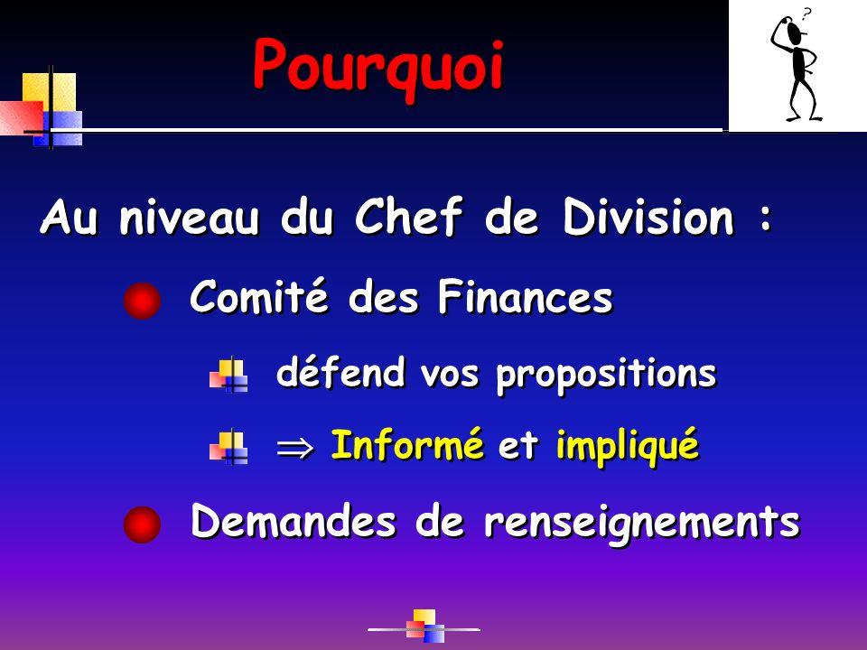 Pourquoi Comité des Finances Au niveau du Chef de Division : défend vos propositions Demandes de renseignements Informé et impliqué