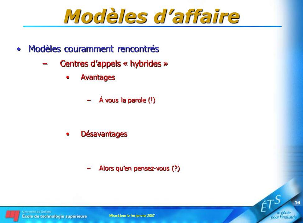 Mise à jour le 1er janvier 2007 16 Modèles daffaire Modèles couramment rencontrésModèles couramment rencontrés –Centres dappels « hybrides » AvantagesAvantages –À vous la parole (!) DésavantagesDésavantages –Alors quen pensez-vous ( )