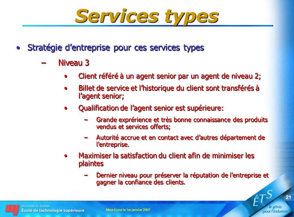 Mise à jour le 1er janvier 2007 21 Services types Stratégie dentreprise pour ces services typesStratégie dentreprise pour ces services types –Niveau 3 Client référé à un agent senior par un agent de niveau 2;Client référé à un agent senior par un agent de niveau 2; Billet de service et lhistorique du client sont transférés à lagent senior;Billet de service et lhistorique du client sont transférés à lagent senior; Qualification de lagent senior est supérieure:Qualification de lagent senior est supérieure: –Grande exprérience et très bonne connaissance des produits vendus et services offerts; –Autorité accrue et en contact avec dautres département de lentreprise.