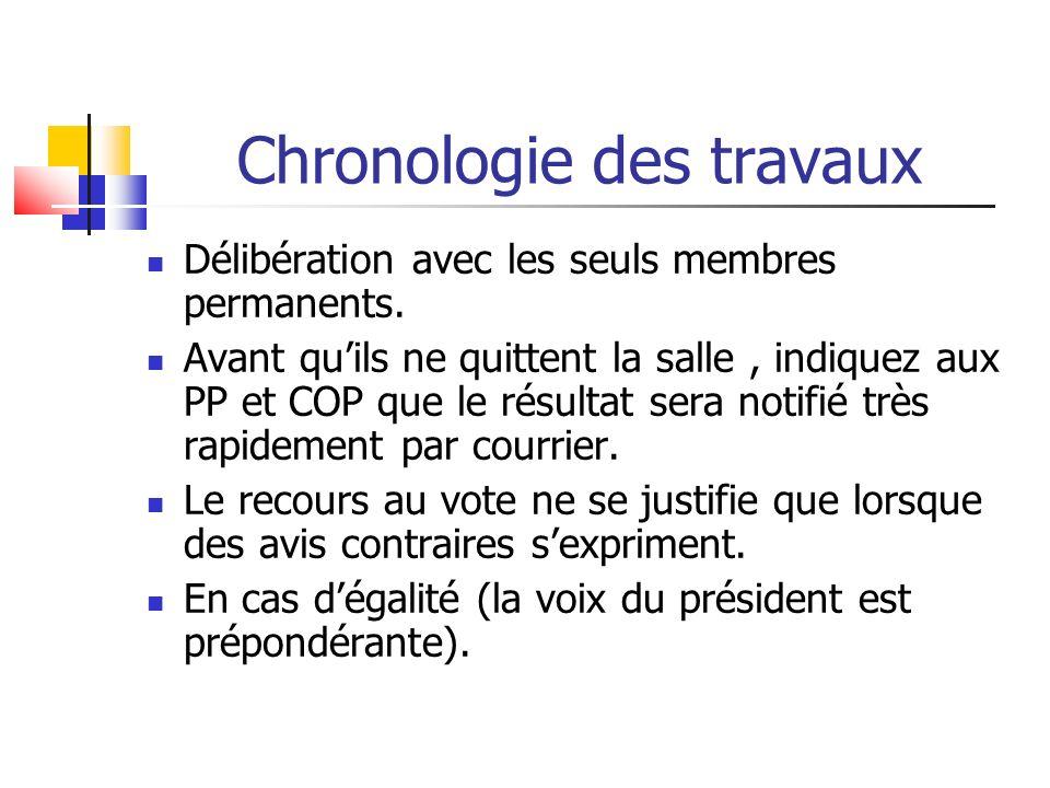 Chronologie des travaux Délibération avec les seuls membres permanents.