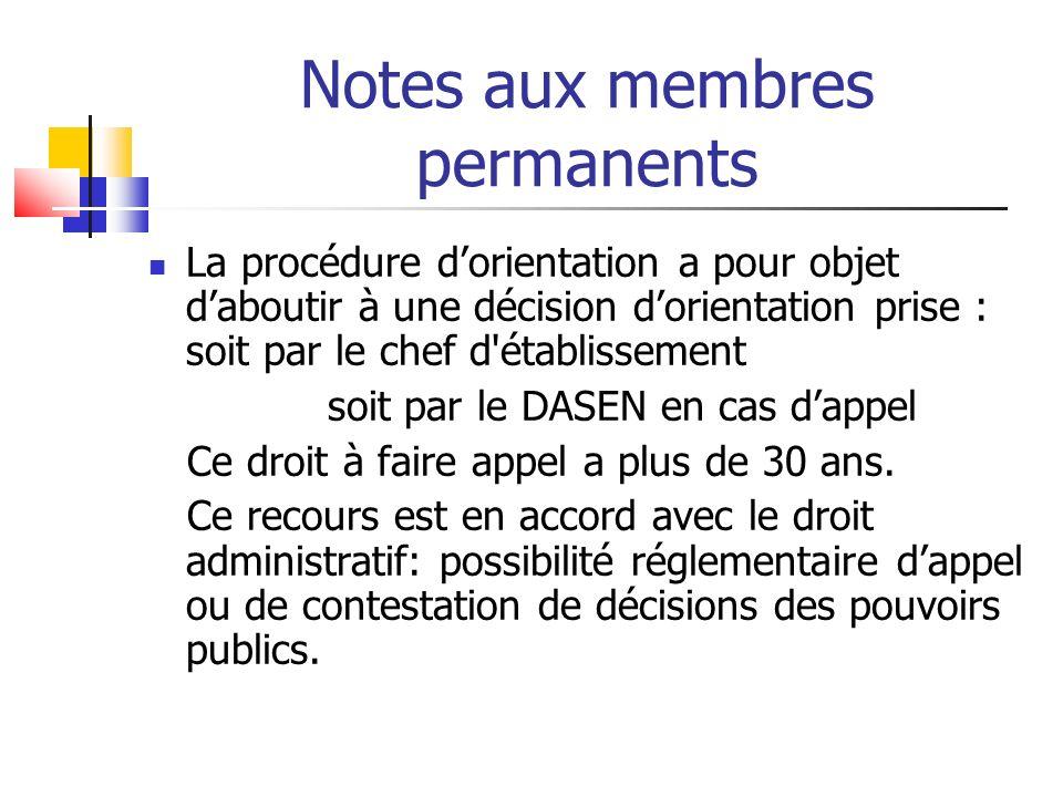 Notes aux membres permanents La procédure dorientation a pour objet daboutir à une décision dorientation prise : soit par le chef d établissement soit par le DASEN en cas dappel Ce droit à faire appel a plus de 30 ans.