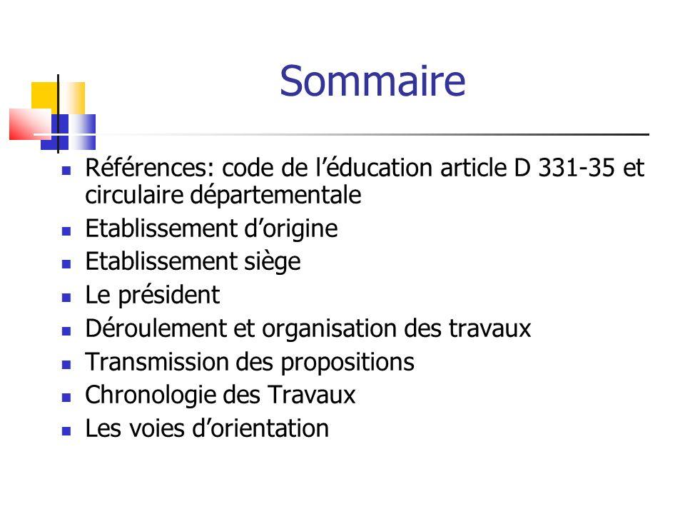 Sommaire Références: code de léducation article D 331-35 et circulaire départementale Etablissement dorigine Etablissement siège Le président Déroulem