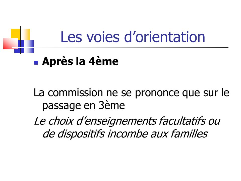 Les voies dorientation Après la 4ème La commission ne se prononce que sur le passage en 3ème Le choix denseignements facultatifs ou de dispositifs incombe aux familles