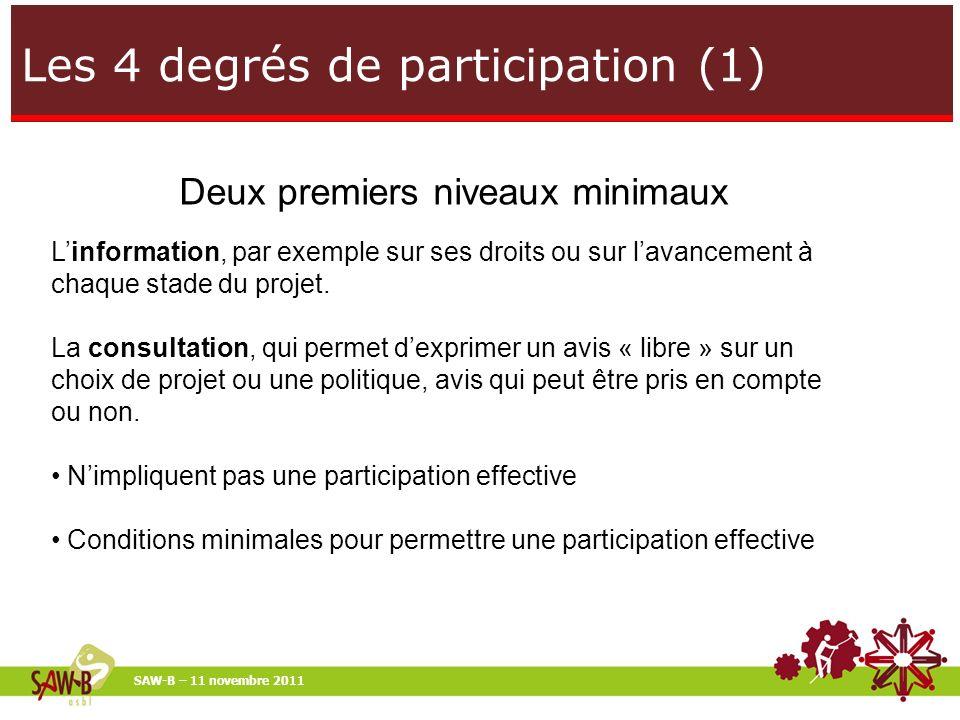 Les 4 degrés de participation (1) SAW-B – 11 novembre 2011 Deux premiers niveaux minimaux Linformation, par exemple sur ses droits ou sur lavancement à chaque stade du projet.