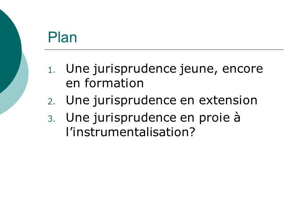 Plan 1. Une jurisprudence jeune, encore en formation 2.