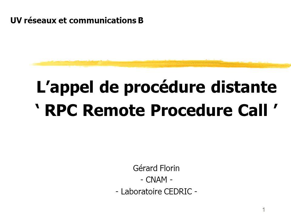 1 Lappel de procédure distante RPC Remote Procedure Call Gérard Florin - CNAM - - Laboratoire CEDRIC - UV réseaux et communications B