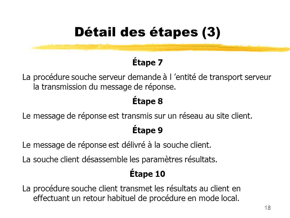 18 Détail des étapes (3) Étape 7 La procédure souche serveur demande à l entité de transport serveur la transmission du message de réponse. Étape 8 Le
