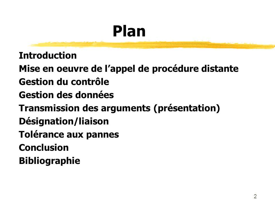 2 Plan Introduction Mise en oeuvre de lappel de procédure distante Gestion du contrôle Gestion des données Transmission des arguments (présentation) D