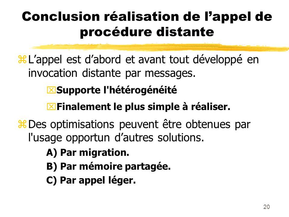 20 Conclusion réalisation de lappel de procédure distante zLappel est dabord et avant tout développé en invocation distante par messages. xSupporte l'