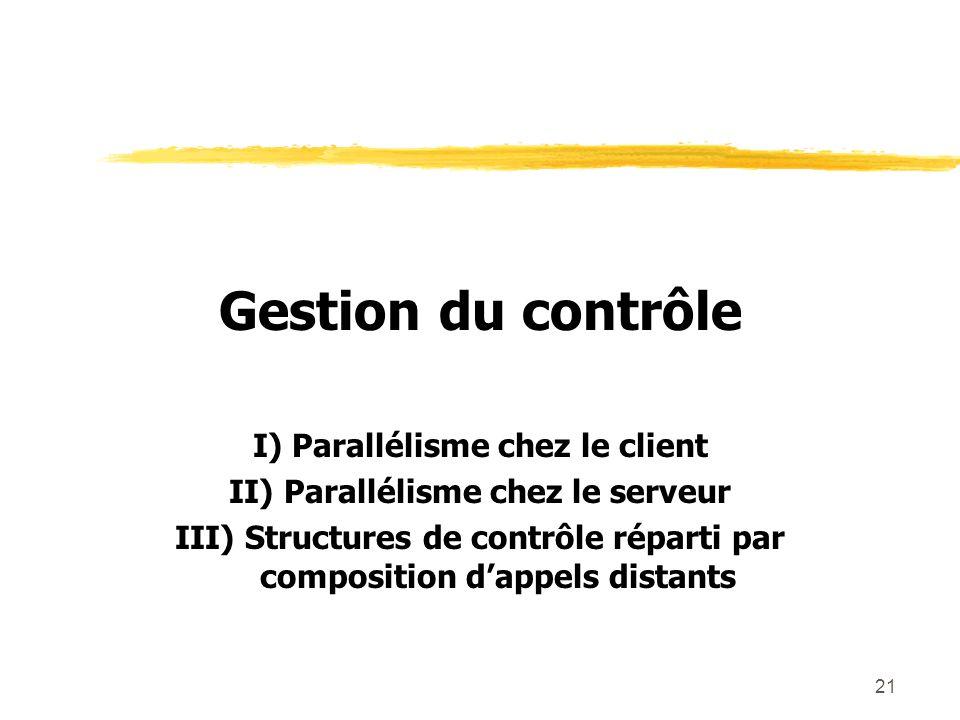 21 Gestion du contrôle I) Parallélisme chez le client II) Parallélisme chez le serveur III) Structures de contrôle réparti par composition dappels dis