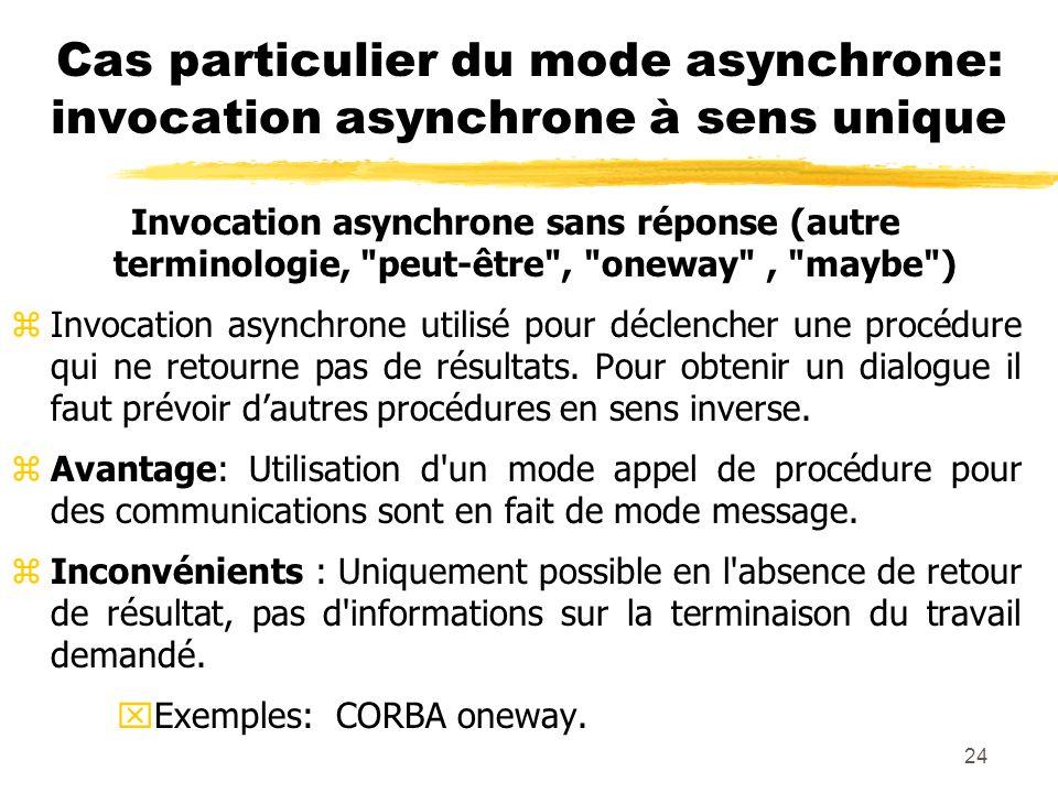 24 Cas particulier du mode asynchrone: invocation asynchrone à sens unique Invocation asynchrone sans réponse (autre terminologie,