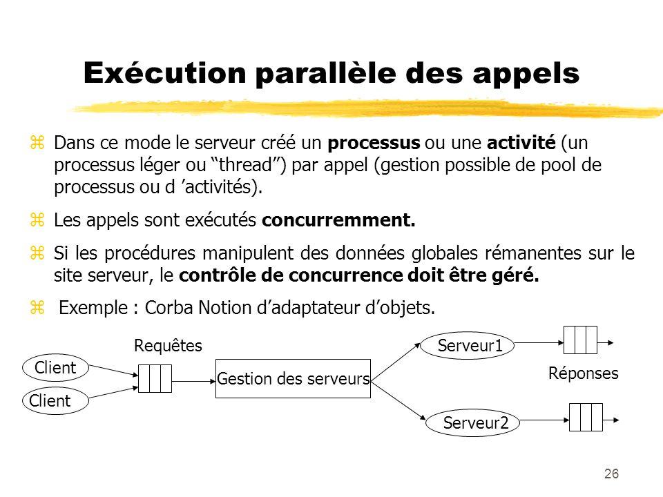 26 Exécution parallèle des appels zDans ce mode le serveur créé un processus ou une activité (un processus léger ou thread) par appel (gestion possibl