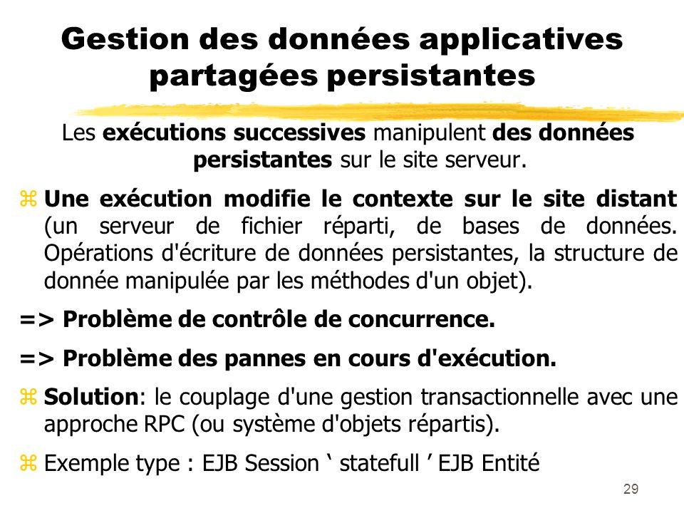 29 Gestion des données applicatives partagées persistantes Les exécutions successives manipulent des données persistantes sur le site serveur. zUne ex