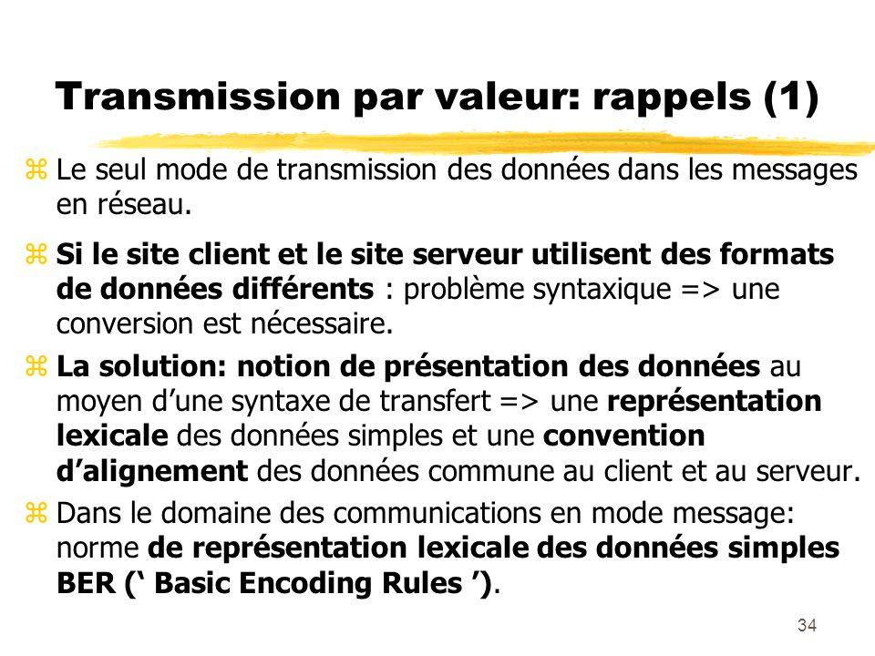 34 Transmission par valeur: rappels (1) zLe seul mode de transmission des données dans les messages en réseau. zSi le site client et le site serveur u