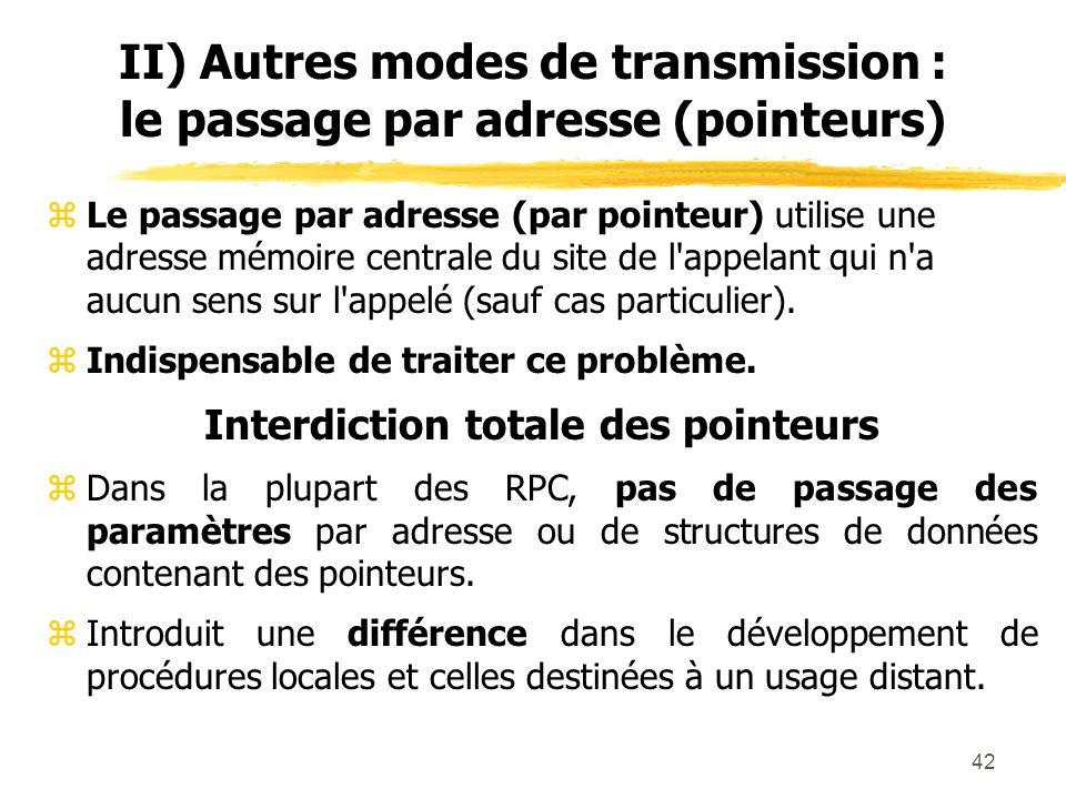 42 II) Autres modes de transmission : le passage par adresse (pointeurs) zLe passage par adresse (par pointeur) utilise une adresse mémoire centrale d