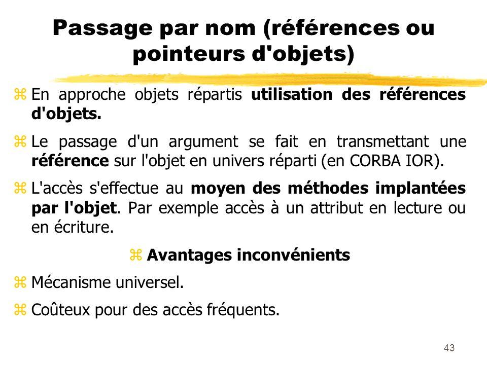 43 Passage par nom (références ou pointeurs d'objets) zEn approche objets répartis utilisation des références d'objets. zLe passage d'un argument se f