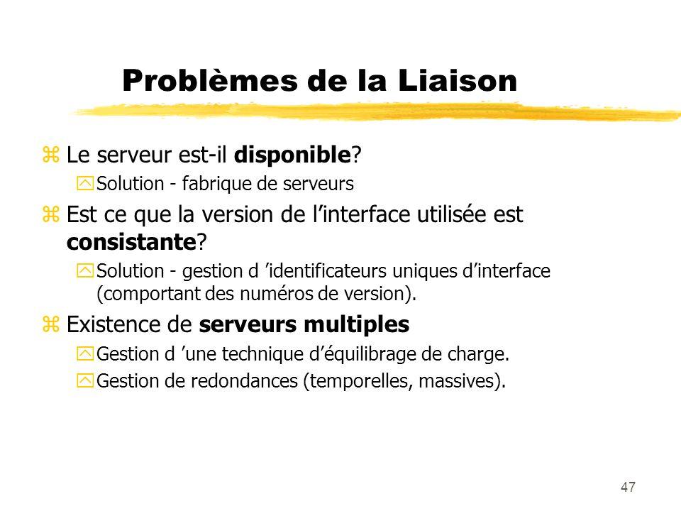 47 Problèmes de la Liaison zLe serveur est-il disponible? ySolution - fabrique de serveurs zEst ce que la version de linterface utilisée est consistan