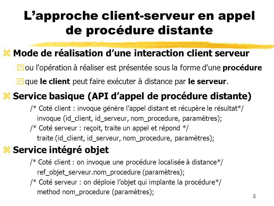 26 Exécution parallèle des appels zDans ce mode le serveur créé un processus ou une activité (un processus léger ou thread) par appel (gestion possible de pool de processus ou d activités).