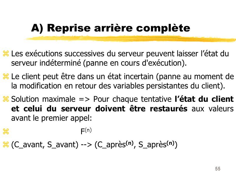 55 A) Reprise arrière complète zLes exécutions successives du serveur peuvent laisser létat du serveur indéterminé (panne en cours d'exécution). zLe c
