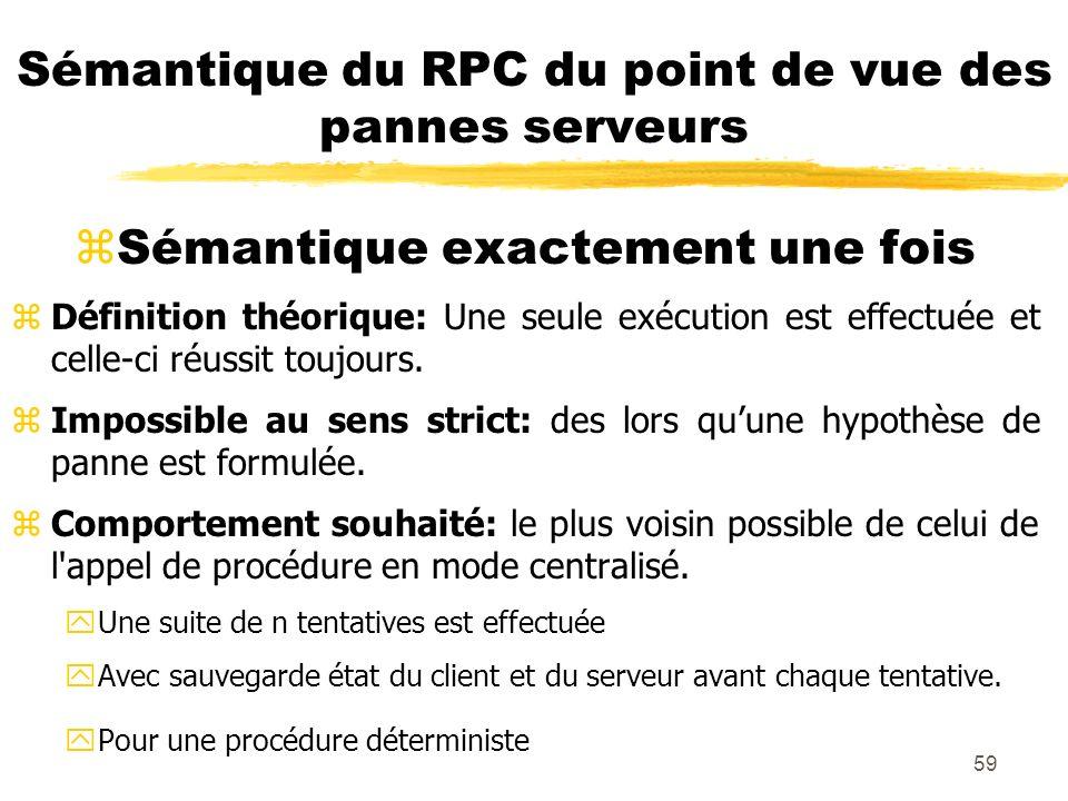 59 Sémantique du RPC du point de vue des pannes serveurs Sémantique exactement une fois zDéfinition théorique: Une seule exécution est effectuée et ce